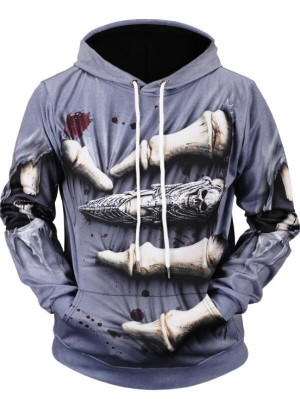 Casual Pullover 3D Dinosaur Claw Print Halloween Hoodie