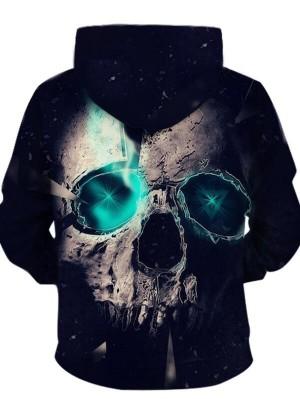 Casual Pullover 3D Horrible Skull Print Halloween Hoodie