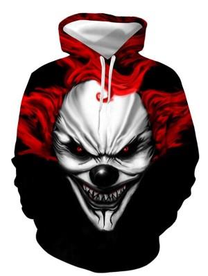 Casual Pullover 3D Evil Clown Print Halloween Hoodie
