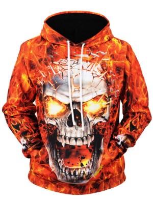 Halloween Fire Skull 3D Print Pullover Halloween Hoodie