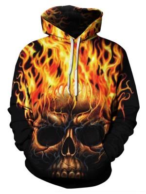 Casual Pullover Flame Skull 3D Print Halloween Hoodie