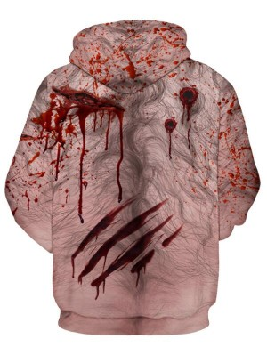 Casual Pullover 3D Blood Print Halloween Hoodie