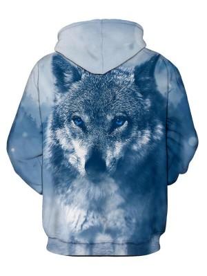 Casual Pullover 3D Wolf Print Halloween Hoodie