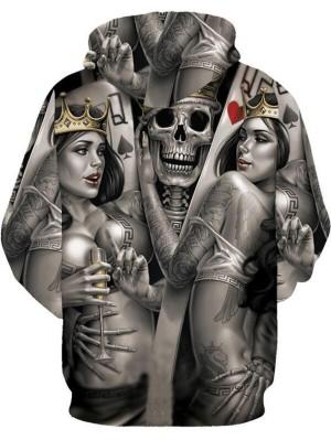 Casual Pullover 3D Skull Print Halloween Hoodie
