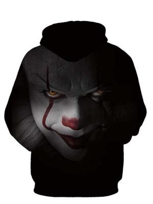Casual Pullover 3D Clown Print Halloween Hoodie