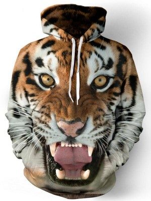 Casual Pullover 3D Tiger Print Halloween Hoodie