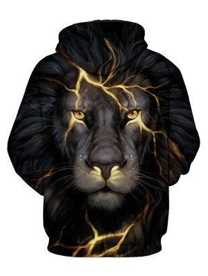 Casual Pullover 3D Lion Print Halloween Hoodie