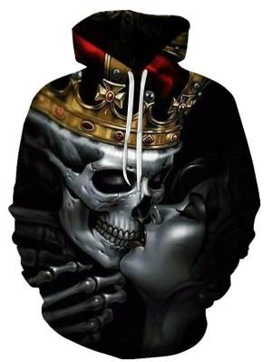 Casual Pullover 3D Skull Kiss Print Halloween Hoodie