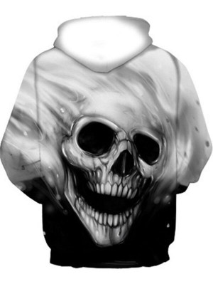 Casual Pullover Skull 3D Print Halloween Hoodie