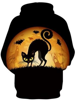 Casual Pullover 3D Print Cat Halloween Hoodie