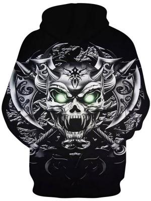 Casual Pullover 3D Cutter Skull Print Halloween Hoodie