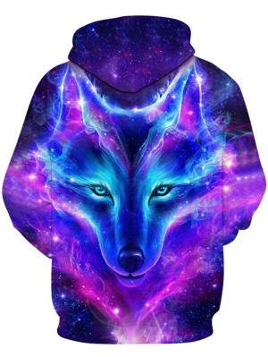 Casual Pullover 3D Print Wolf Halloween Hoodie