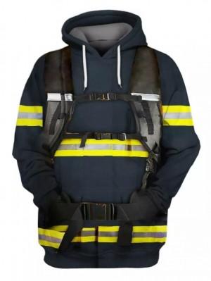 Casual Pullover 3D Fireman Print Halloween Hoodie