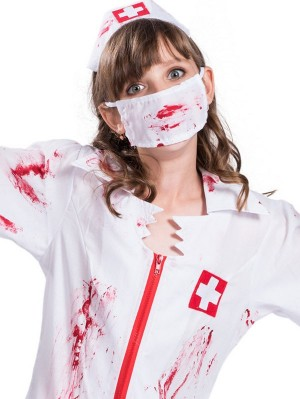 Women's Halloween Bloody Nurse Cosplay Costume Nurse Dress
