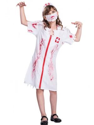 Women's Halloween Bloody Nurse Cosplay Costume Nurse Dress