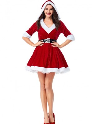 Women's Christmas Santa Claus Cosplay Costume V-neck Hooded Dress