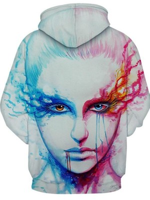 Casual Pullover 3D Face Print Halloween Hoodie