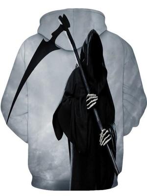 Casual Pullover 3D Death Print Halloween Hoodie