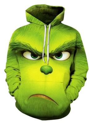 Casual Pullover 3D Green Monkey Print Halloween Hoodie