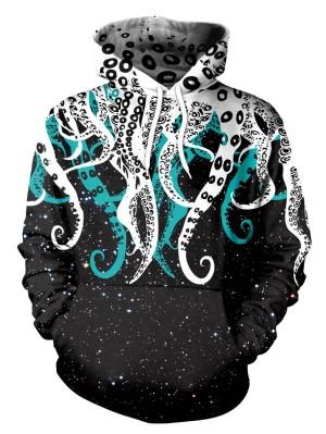 Casual Pullover 3D Octopus Print Halloween Hoodie