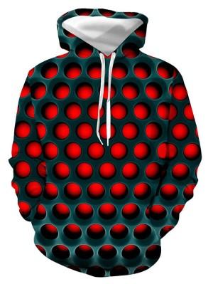 Casual Pullover 3D Honeycomb Print Halloween Hoodie
