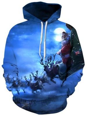 Christmas 3D Santa Claus Print Pullover Christmas Hoodie