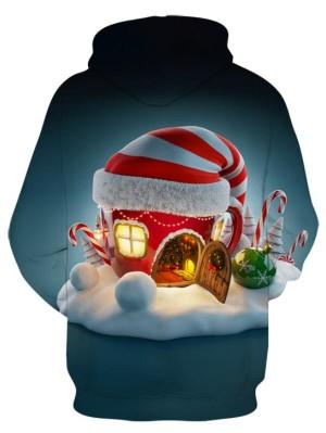 Christmas Caps 3D Print Pullover Christmas Hoodie