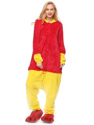 Cute Flannel Loungewear Pooh Bear Onesie Pajamas For Adults
