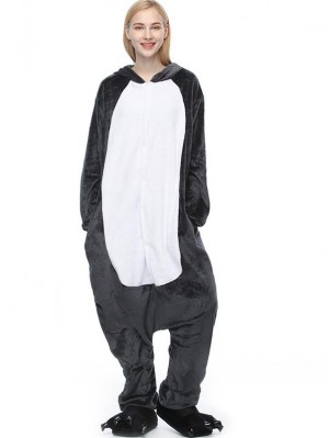 Cute Flannel Loungewear Timber Wolf Onesie Pajamas For Adults
