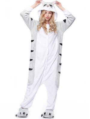 Cute Flannel Loungewear Chi's Cat Onesie Pajamas For Adults