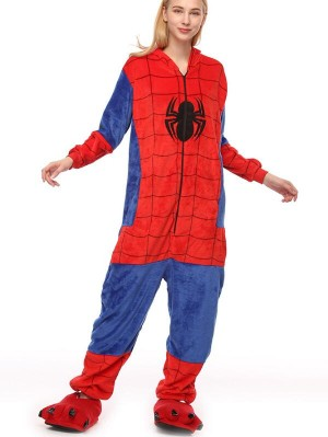 Cute Flannel Loungewear Spider-Man Stitch Onesie Pajamas For Adults