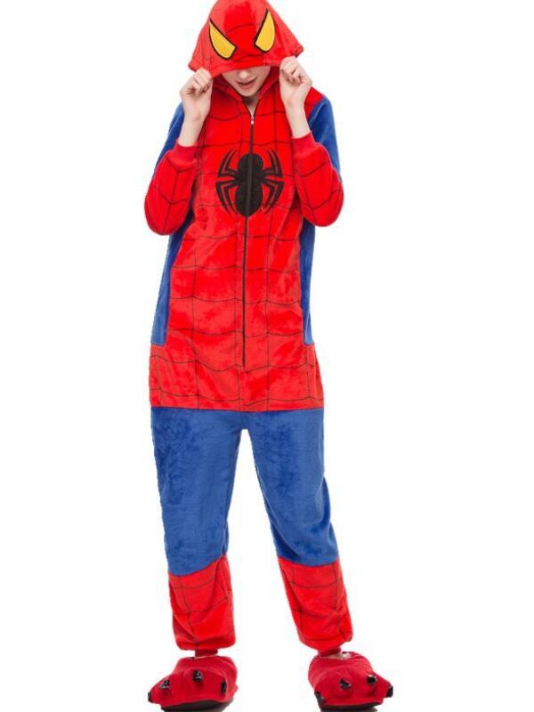 Cute Flannel Loungewear Spider-Man Stitch Onesie Pajamas For Adults