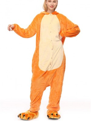 Cute Flannel Loungewear Fire Dinosaur Onesie Pajamas For Adults