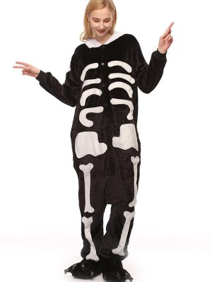 Cute Flannel Loungewear White Bone Demon Onesie Pajamas For Adults