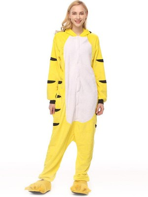 Cute Flannel Loungewear Tiger Onesie Pajamas For Adults