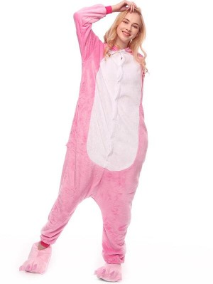 Cute Flannel Loungewear Pink Rabbit Onesie Pajamas For Adults