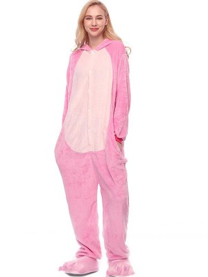 Cute Flannel Loungewear Rabbit Onesie Pajamas For Adults