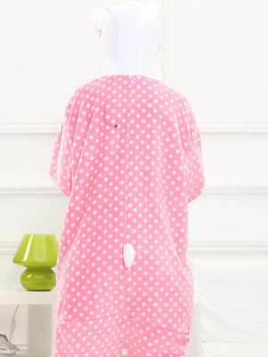 Cute Flannel Loungewear Polka Dot Cat Onesie Pajamas For Adults