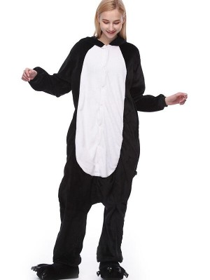 Cute Flannel Loungewear Penguin Onesie Pajamas For Adults