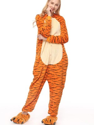Cute Flannel Loungewear Tigger Onesie Pajamas For Adults