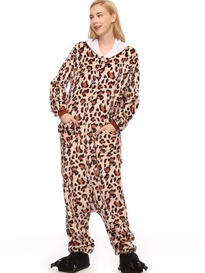 Cute Flannel Loungewear Leopard Onesie Pajamas For Adults