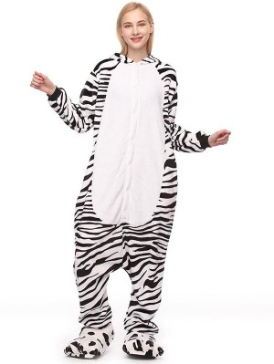 Cute Flannel Loungewear Zebra Onesie Pajamas For Adults