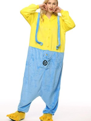 Cute Flannel Loungewear Minions Onesie Pajamas For Adults