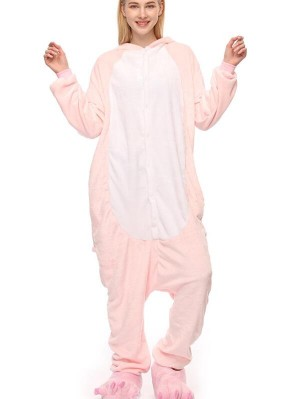Cute Flannel Loungewear Pink Cat Onesie Pajamas For Adults