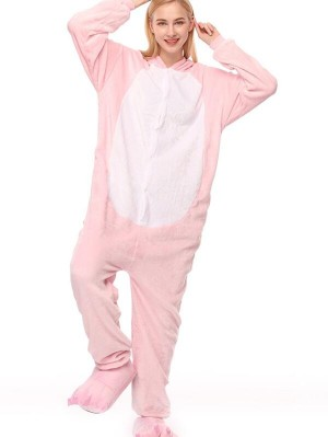 Cute Flannel Loungewear Pink Pig Onesie Pajamas For Adults