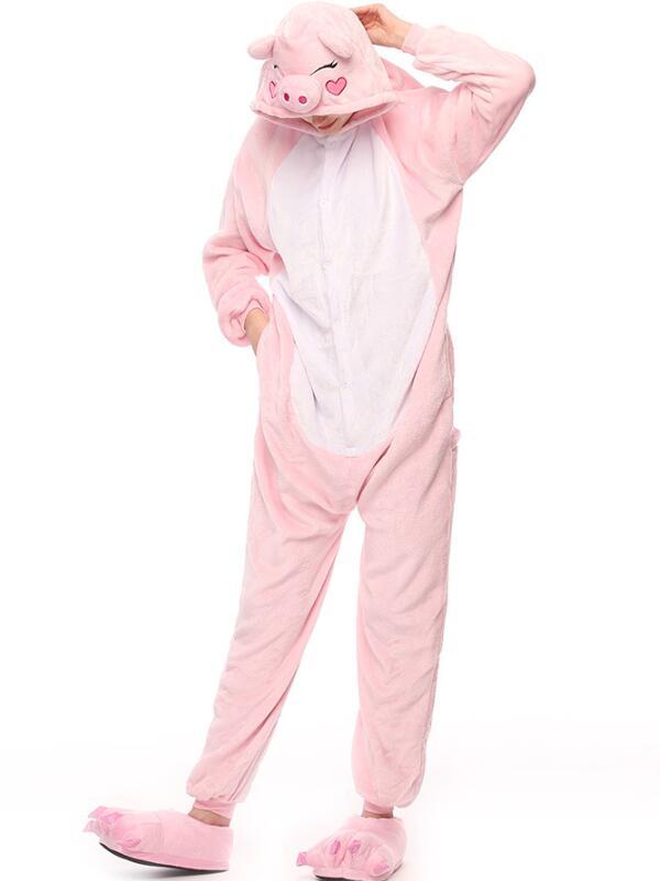 Cute Flannel Loungewear Pink Pig Onesie Pajamas For Adults