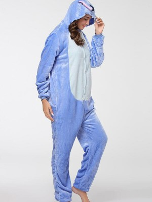 Cute Flannel Loungewear Stitch Onesie Pajamas For Adults