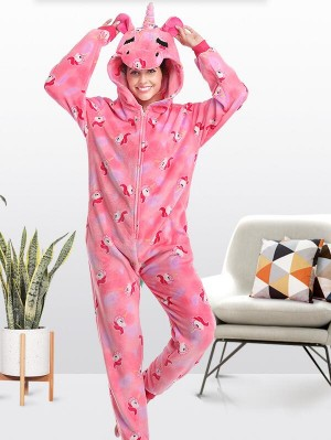 Cute Flannel Loungewear Pink Unicorn Onesie Pajamas For Adults