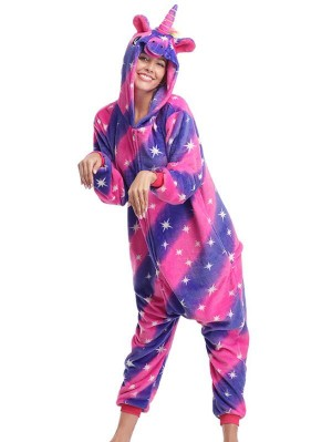 Cute Flannel Loungewear Star Unicorn Onesie Pajamas For Adults