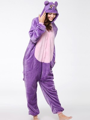 Cute Flannel Loungewear Purple Cat Onesie Pajamas For Adults